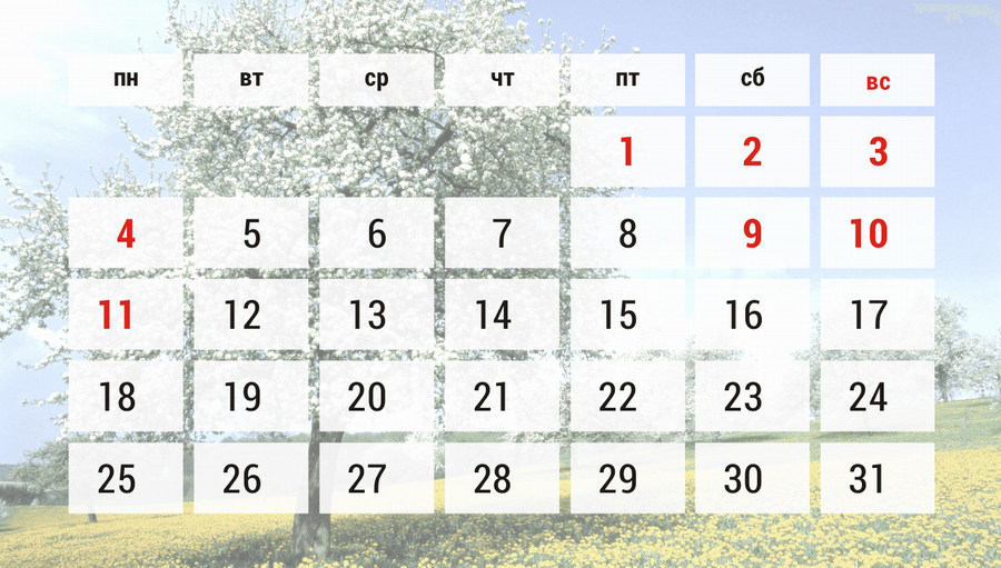в мае мы отдыхаем:
